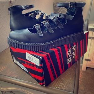 TUK Multi-Strap Pointed Mary Jane Creepers